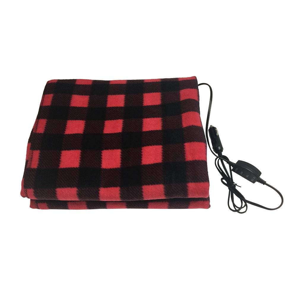 Electric Car Blanket- Heated 12 Volt Fleece Travel Throw for Car and RV, Great for Cold Weather, Tailgating, and Emergency Kits sweetyhomes
