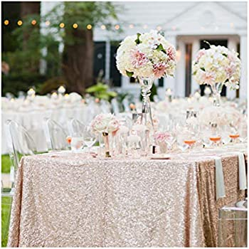 QueenDream Sequin Tablecloth Champagne Blush Table Covers Glitz Overlays Wedding Tablecloth Garden Party 90x132inch