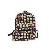 Vbiger Printed Emoji Kids School Backpack Set