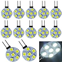 EverBrightt 12-Pack White Round G4 5050 6SMD LED RV Camper Light Bulb Home Reading Light Marine Boat Lamps DC 12V