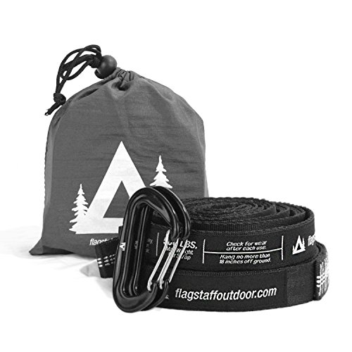 Flagstaff Outdoor Co. Hammock Straps - Tree Friendly, 20 ft Combined Length, 32 Loops, Non-Stretch, Quick & Easy Hammock Hanging System + 2 Aluminum Lightweight Carabiners (Rated 12kN)
