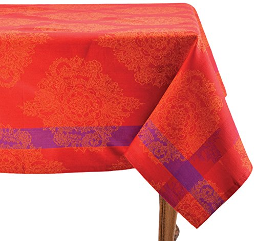 Mahogany Cairo Rectangle, Red, 60 90-inch, 100% Cotton Jacquard - Table Asian Mahogany
