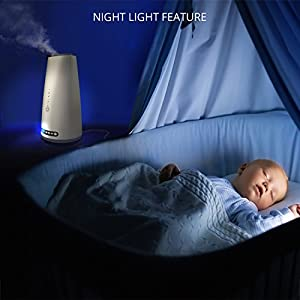 GENIANI Ultrasonic Humidifier, 3 Levels Cool Mist with Aroma Box and LED Lights, 2L, with Filter or No Filter