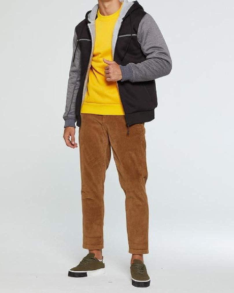 HEFASDM Mens Oversize Hoodie Stitching Fleece Thicken Personalized Tunic Sweatshirt