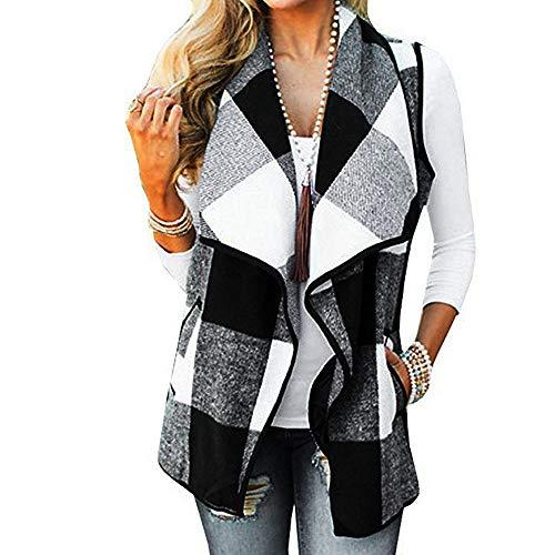 Dressin Womens Sleeveless Open Front Hem Plaid Vest Cardigan Jacket with Pockets White ()