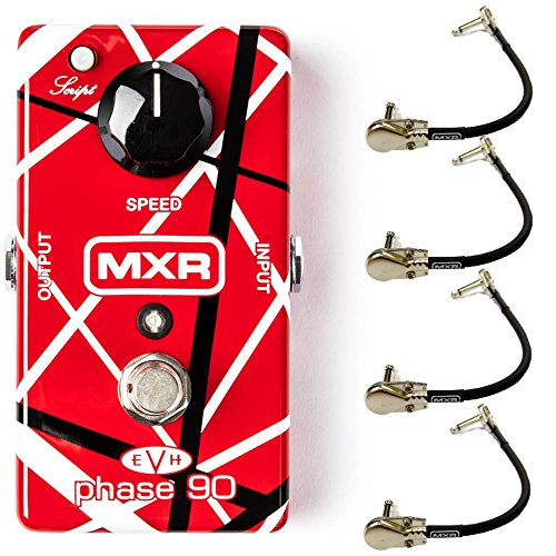 (MXR EVH90 Eddie Van Halen Phase 90 Signature Effects Pedal Bundle with 4 MXR Right Angle Patch Cables)
