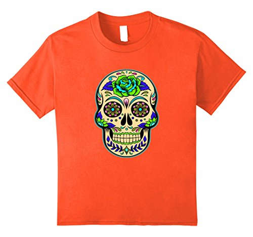 Dead School Girl Costume (Kids Glow Effect Sugar Skull T-shirt - Halloween Skull Shirt 8 Orange)