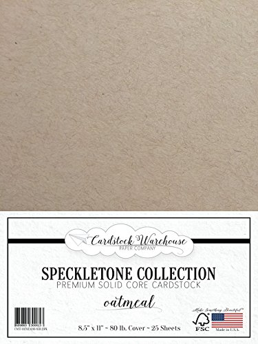 Oatmeal TAN SPECKLETONE Recycled Cardstock Paper - 8.5 x 11 inch - Premium 80 LB. Cover - 25 Sheets