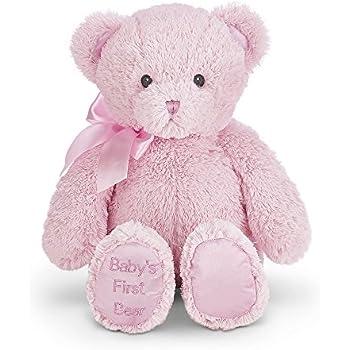 "Bearington Baby's First Teddy Bear Pink Plush Stuffed Animal, 12"""