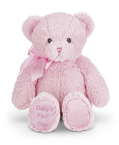 Bearington Baby's First Teddy Bear Pink Plush Stuffed Animal, (Old Teddy Bear)