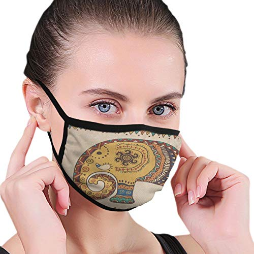 Dust Mask Indian Tribal Mandala Elephant Vintage Antiviral Face Mask Cover Anti-dust Reusable Windproof Half Face Mouth Warm Masks for Ski Bicycle Cycling Motorcycle Women Men