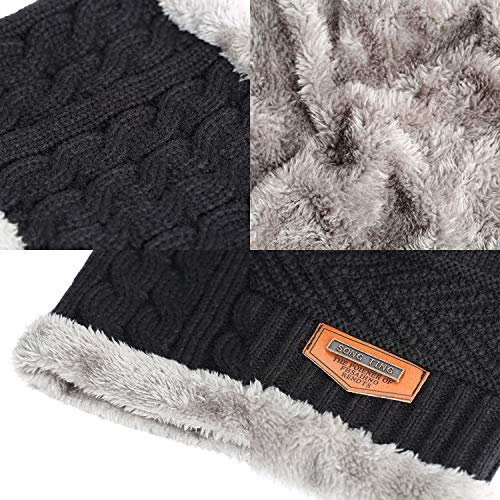 Men's 2-Pieces Winter Beanie Hat Scarf Set Warm Knit Hat Thick Fleece Lined Winter Cap Scarves for Men Women 5