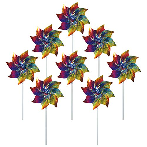 (In the Breeze Best Selling Rainbow Whirl Pinwheel - Bright Blended Rainbow Design - Mylar Material - 8 Piece Bags)