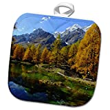 3dRose Cities Of The World - Valle Daosta Mirror Lago Bleu Lake Aosta Valley In Italy - 8x8 Potholder (phl_268655_1)