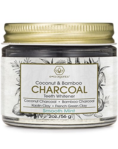 Oral Teeth Whitening Activated Charcoal - Premium Organic Coconut & Bamboo Tooth Whitener Powder with Kaolin Clay, Bentonite Clay, Peppermint & More for Brighter Smile & Healthier Gums (2oz.)