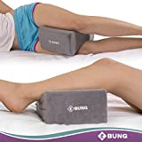 EBUNG Memory Foam Knee Support Pillow – Between Knees or Under Knee Pillow – Right Sleeping Posture – Reduced Lower Back, Hips & Knee Joint Pain – with Removable & Washable Knee Wedge Pillow Cover