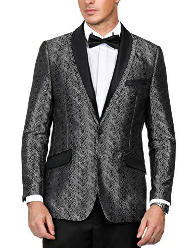 - PAUL JONES Men's Floral Jacquard Suit Jacket Detachable Satin Collar One-Button Blazer