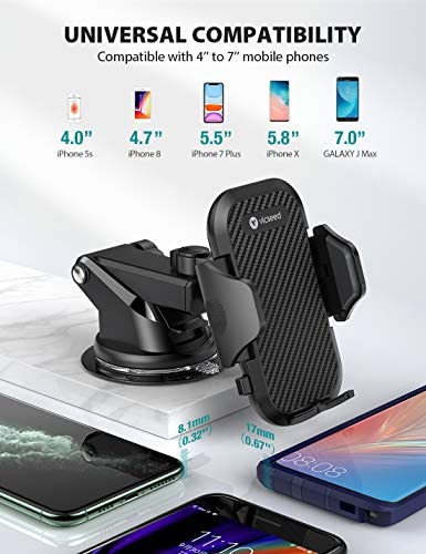 Thick Case /& Big Phones Friendly VICSEED Car Phone Mount, Long Arm Suction Cup Phone Holder for Car Dashboard Windshield Air Vent Hands Free Clip Cell Phone Holder Compatible with All Mobile Phones