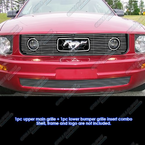 Billet Grille Package - APS Fits 2005-2009 Ford Mustang V6 Pony Package Billet Grille Grill Insert Combo # F61219A