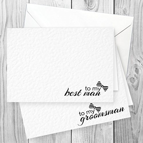 6 White Wedding Thank You Note Cards to Groomsman x 5 and to Best Man x 1...