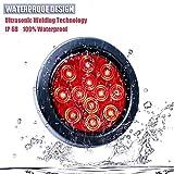 "LivTee Waterproof 4"" Round Red LED Trailer Lights"