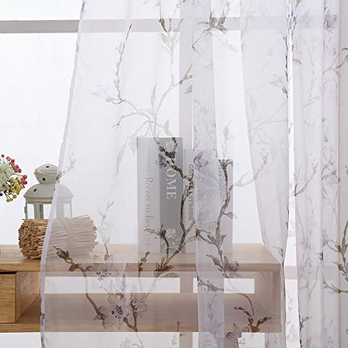 Huaa ,1 PCS Floral Tulle Door Window Curtain Drape Panel Sheer Scarf Valances,F,100x200cm (Stripe Scarf Valance)
