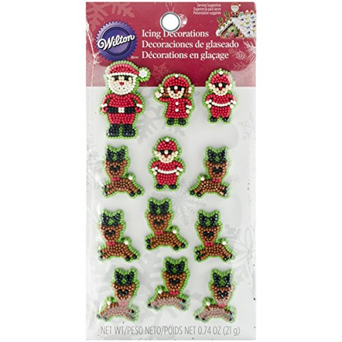 (Wilton 710-3480 Christmas Santa and Elves Icing Decorations)