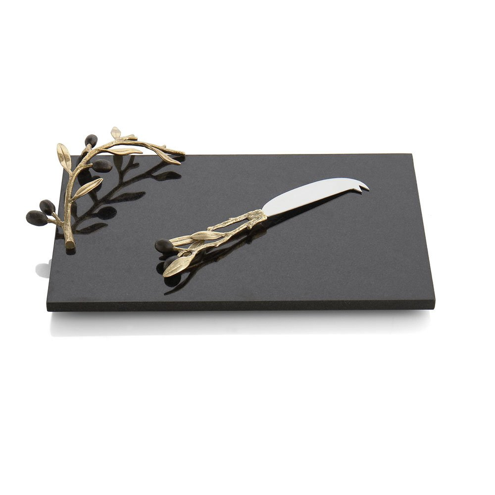 Michael Aram Olive Branch Cheese Board with Knife, Gold