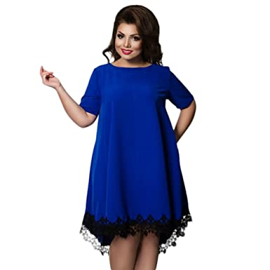 EFINNY Plus Size Lace Dress Women Short Sleeve Evening Party Cocktail Dress