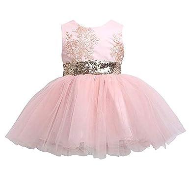 7eec0a266 Amazon.com: Sarah Go Newborn Toddler Baby Girls Sequins Bowknot Floral  Princess Dresses: Clothing