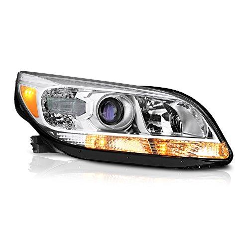- VIPMOTOZ For 2013-2015 Chevy Malibu Headlight - [Factory Halogen Headlamp Model] - Metallic Chrome Housing, Passenger Side