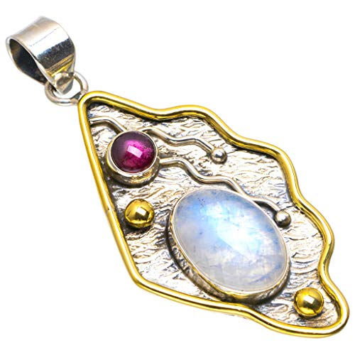 Natural Two Tones Rainbow Moonstone and Amethyst Handmade Unique 925 Sterling Silver Pendant 2