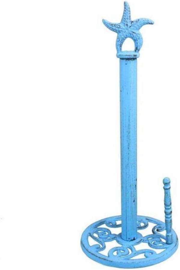 "Hampton Nautical Rustic Light Blue Starfish Paper Towel Holder 15"" Decoration-Vintage Cast Iron"