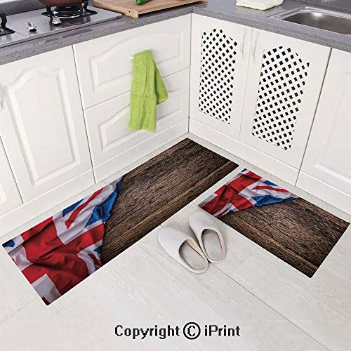 "Kitchen Rugs and Runner Set 2 Pieces (19.6""x59.1""+19.6""x31.5"") Non Skid Washable Kitchen MatsFlag of United Kingdom on Old Oak Wooden Board English Nation Country Britain,Non Skid Washable Kitchen Mat"
