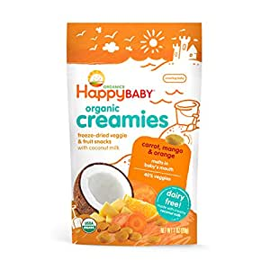 Happy Baby Organic Creamies Freeze-Dried Veggie & Fruit Snacks with Coconut Milk, Carrot, Mango & Orange, 1 Ounce (Pack of 8) Packaging may vary