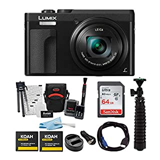 Panasonic LUMIX DC-ZS70K 20.3MP 4K Digital Camera (Black) with 64GB SD Card and Accessory Bundle