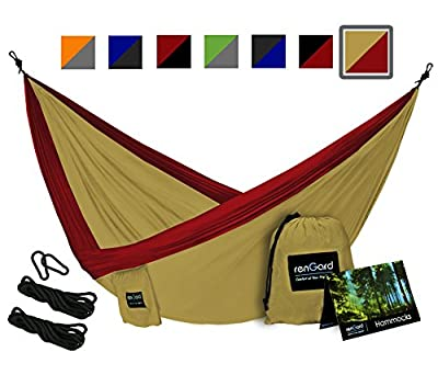 RenGard Portable Camping Hammock - Sturdy and Breathable Parachute Nylon built; Multi-functional Ultralight Premium Quality Family Hammock - for Outdoor and Indoor - Single&Double