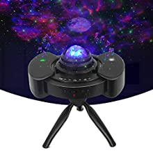 Star Projector with Adjustable Tripod Stand, 3 in 1 Starry Night Light Projector with LED Moon, Sky Clound & Moving Ocean, Built-in Dual Stereo Speaker for Bedroom Decor, Kids, Party, Gift