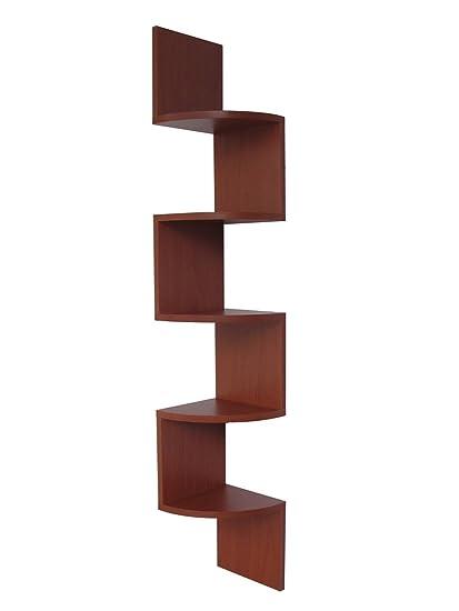 amazon com stackable 5 tier oak zig zag corner wall shelves rh amazon com zig zag corner shelving zig zag corner shelf uk