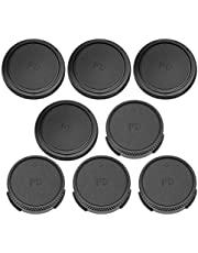 Lens Cap Set,Camera Front Body Cap + Rear Lens Cap Cover Set,Fit for Canon FD Mount Lens and Camera Body,Black