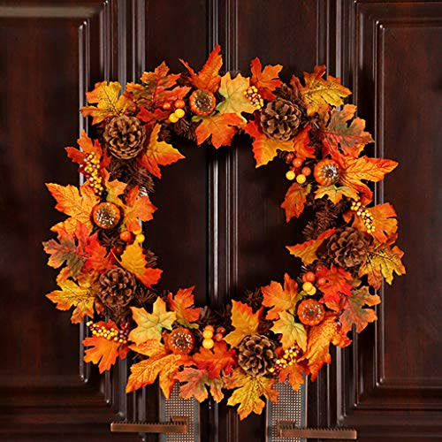 - SUJING Pinecone Maple Wreath Garland, Winter Front Door Decorative Wreath with Maple Leaf Pumpkin, Pinecone,Red Berries Garland - ome Window Decoration Festival Ornaments