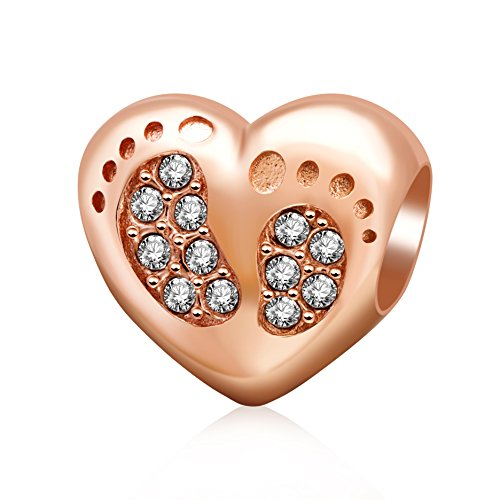 Rose Gold Heart Love Baby Footprints Charms 925 Sterling Silver Clear Crystal Charms Beads Bracelets