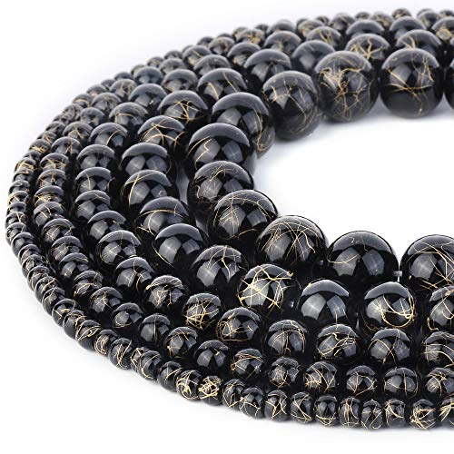 RUBYCA 300pcs Mixed Sizes Loose Glass Beads for Jewelry Making, Opaque Black, Gold Paint -