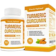 Premium Turmeric Curcumin with Bioperine 2400mg - Highest Strength & Potency 95% Curcuminoids - Pain Relief & Joint Support, Anti-Inflammatory - Black Pepper for Max Absorption (90 Turmeric Capsules)