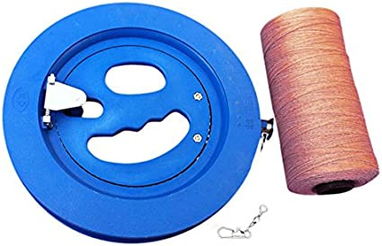 Round Blue Plastic ABS 18cm Kite Reel Winder with 220m Line Connector