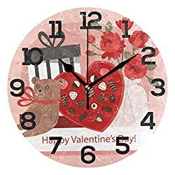 Dozili Happy Valentine's Day Bear Rose Chocolate Round Wall Clock Arabic Numerals Design Non Ticking Wall Clock Large for Bedrooms,Living Room,Bathroom