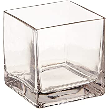 Amazon 12piece 4 Square Crystal Clear Glass Vase Home Kitchen
