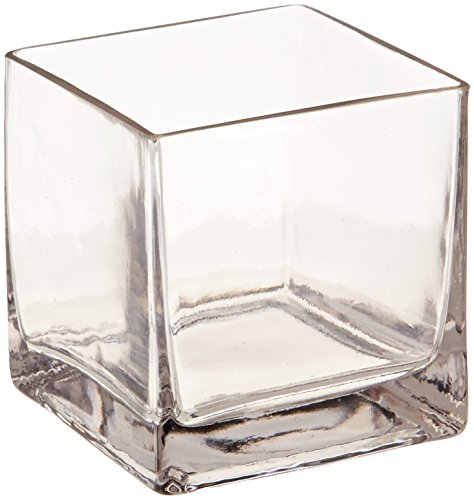 """12piece 4"""" Square Crystal Clear Glass Vase"""