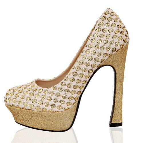 AmoonyFashion Womens Closed Round Toe High Heel Soft Material PU Solid Pumps with Platform Gold LD5gWKMZ7G