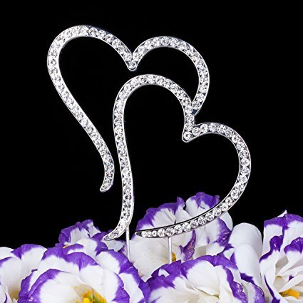 Brittany Trachelle's ''Two Hearts One Love'' Silver Genuine Crystal Rhinestone Cake Topper